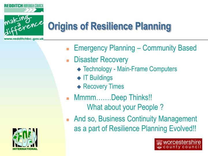Origins of Resilience Planning