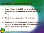 highlights of the resolution