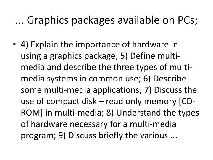 ... Graphics packages available on PCs;