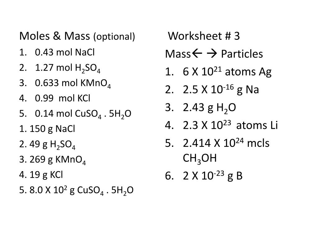 Ppt Worksheet 1 Gram Formula Mass Answers Powerpoint Presentation Id 4253115