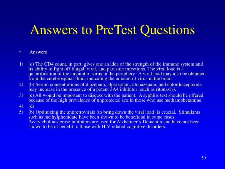 Answers to PreTest Questions