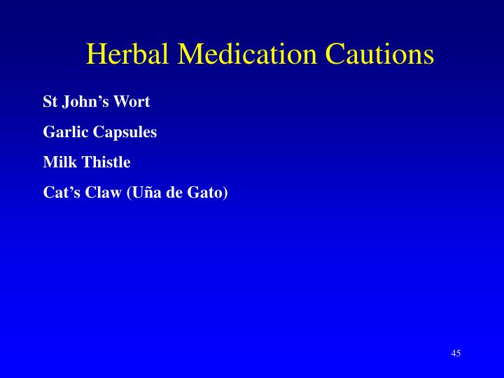 Herbal Medication Cautions