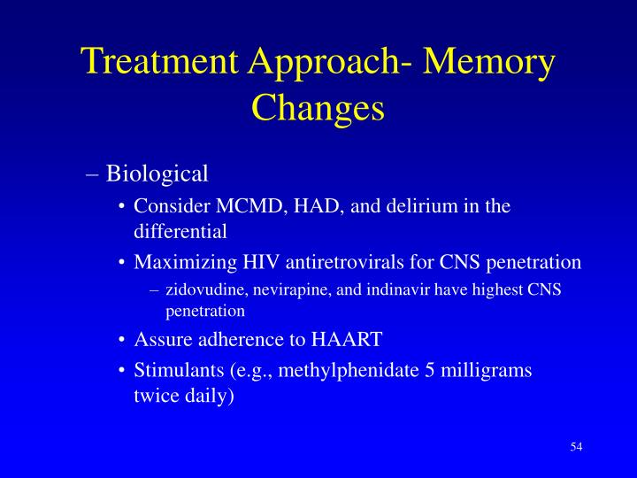 Treatment Approach- Memory Changes