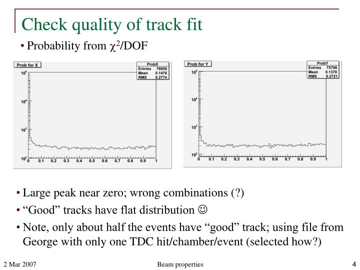 Check quality of track fit
