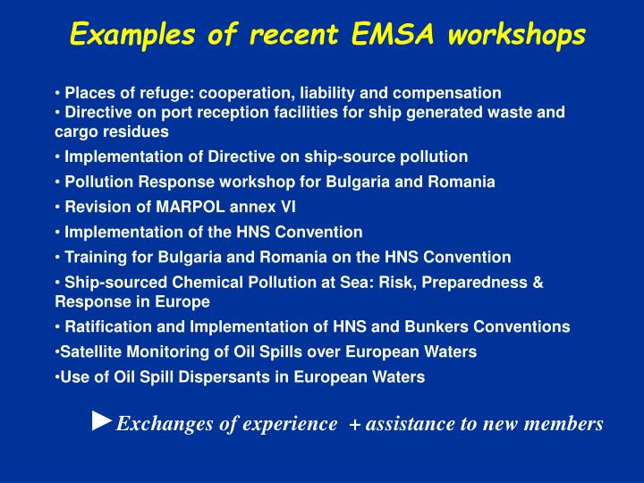 Examples of recent EMSA workshops