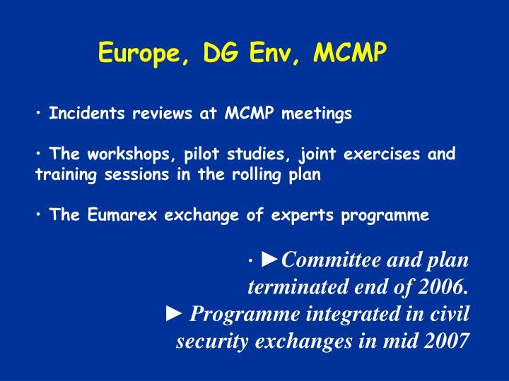 Europe, DG Env, MCMP