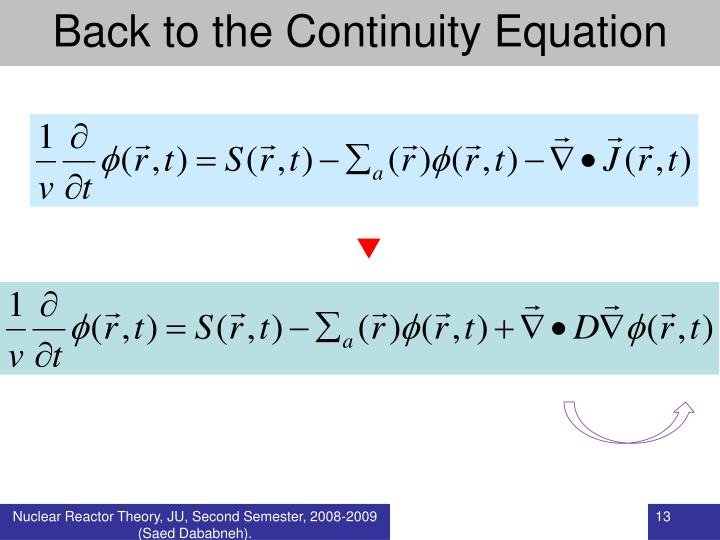 Back to the Continuity Equation