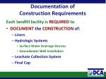 documentation of construction requirements