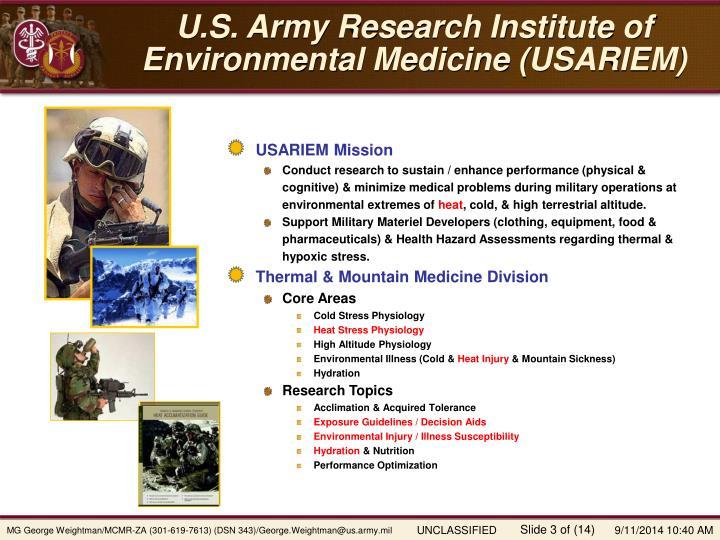 U s army research institute of environmental medicine usariem