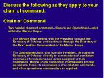 discuss the following as they apply to your chain of command chain of command