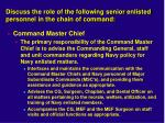 discuss the role of the following senior enlisted personnel in the chain of command1