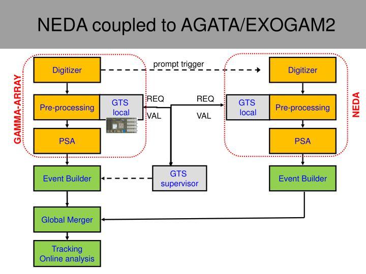 NEDA coupled to AGATA/EXOGAM2