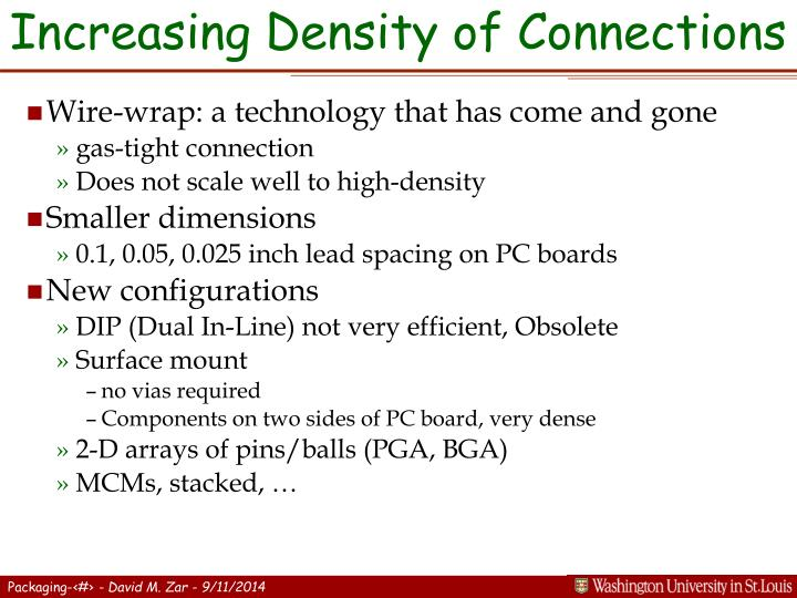 Increasing Density of Connections