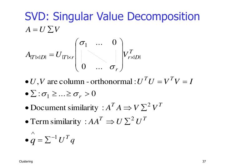 SVD: Singular Value Decomposition