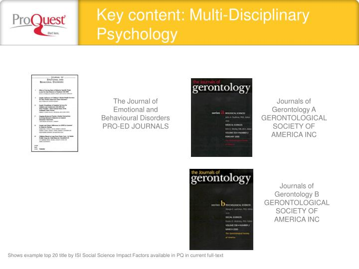 Key content: Multi-Disciplinary Psychology