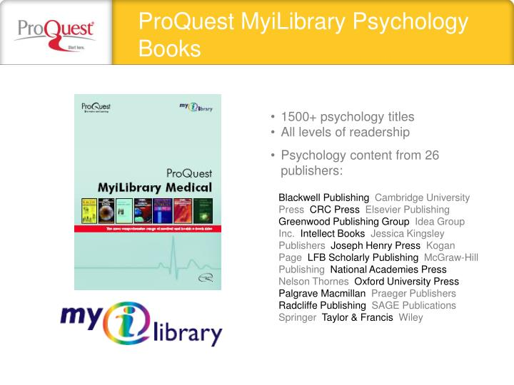 ProQuest MyiLibrary Psychology Books
