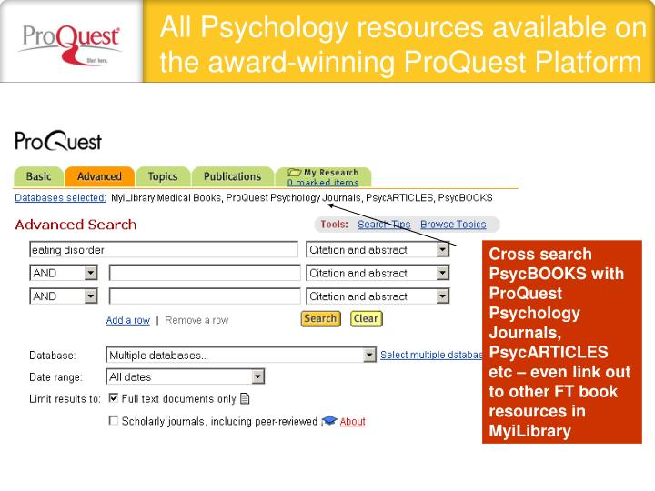 All Psychology resources available on the award-winning ProQuest Platform