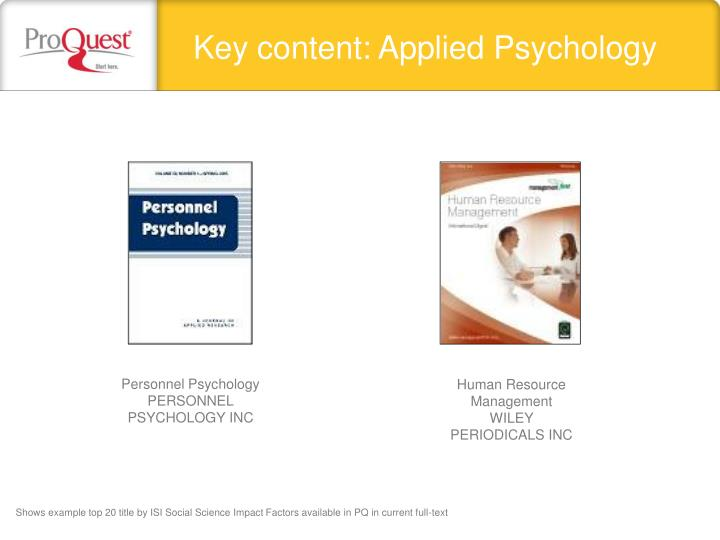Key content: Applied Psychology