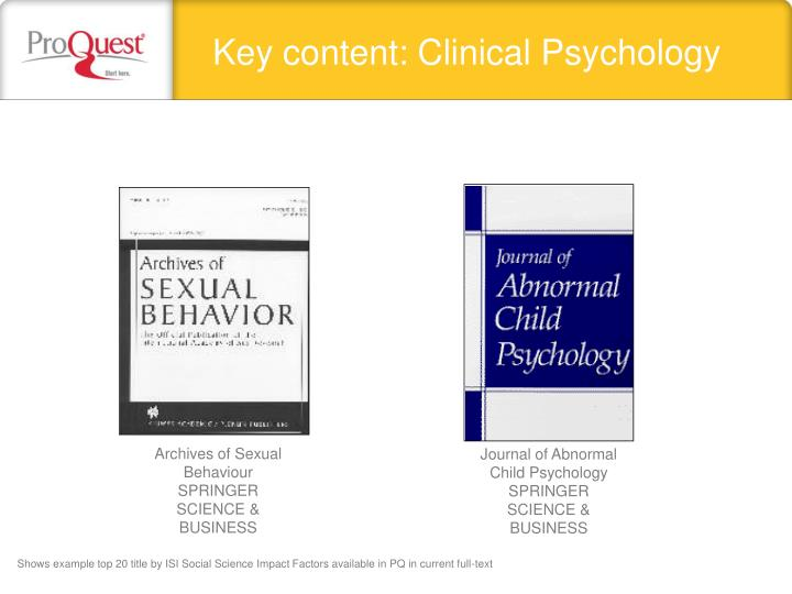 Key content: Clinical Psychology