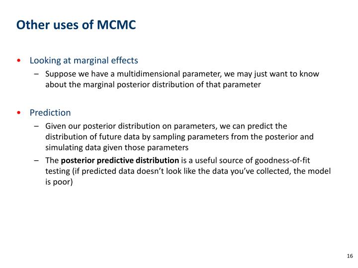 Other uses of MCMC