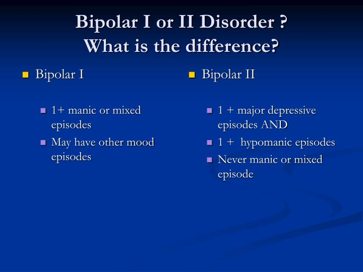 Bipolar i or ii disorder what is the difference