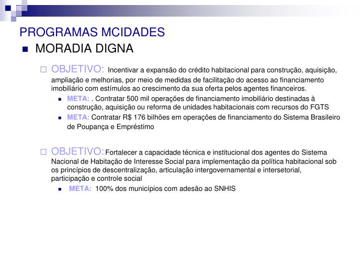 PROGRAMAS MCIDADES