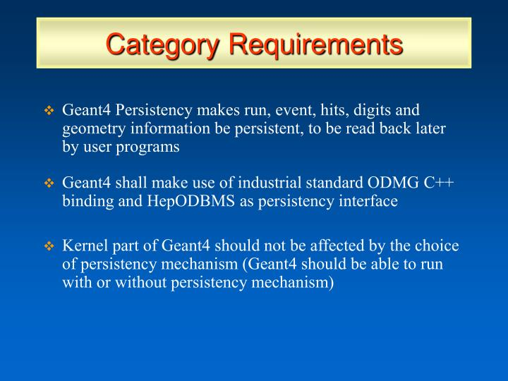 Category Requirements