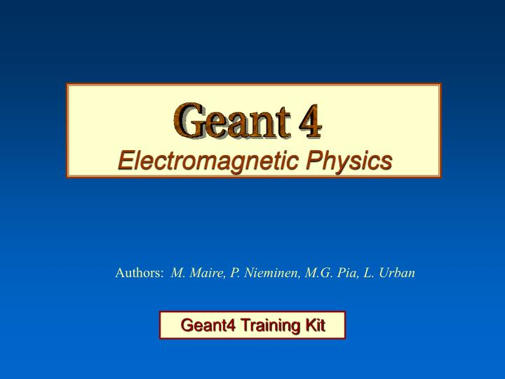 Electromagnetic Physics