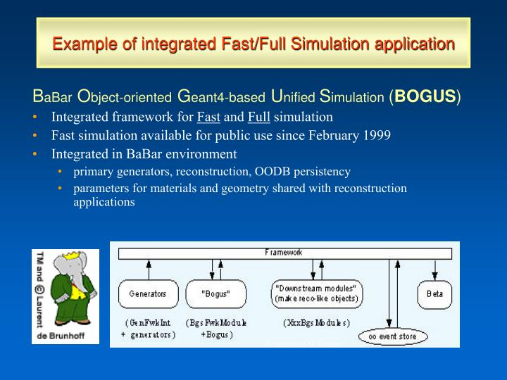 Example of integrated Fast/Full Simulation application