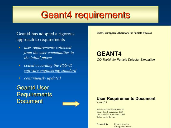 Geant4 requirements