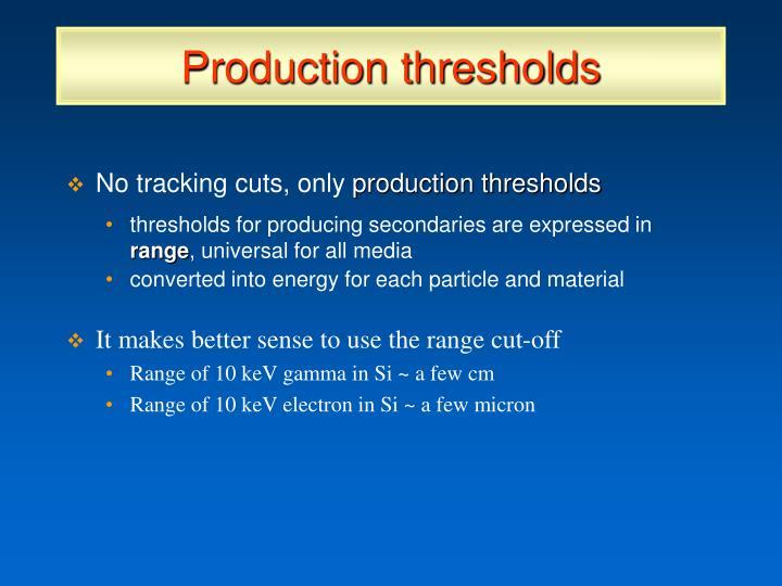 Production thresholds