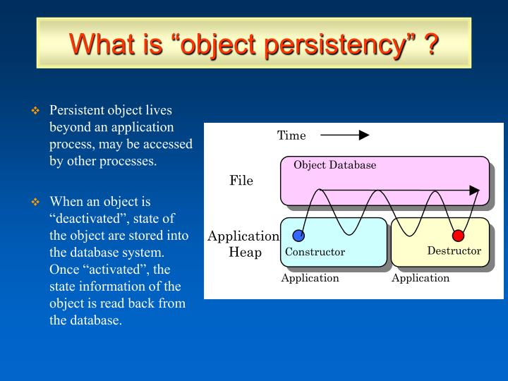 """What is """"object persistency"""" ?"""