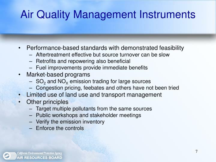 Air Quality Management Instruments