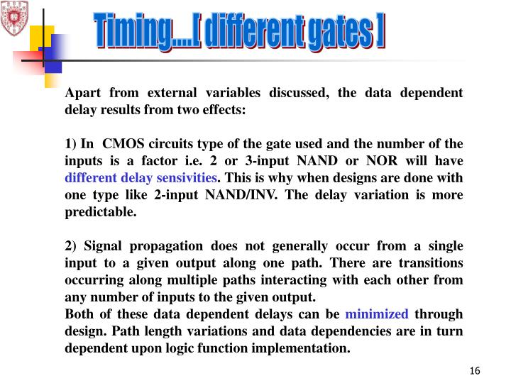 Timing....[ different gates ]