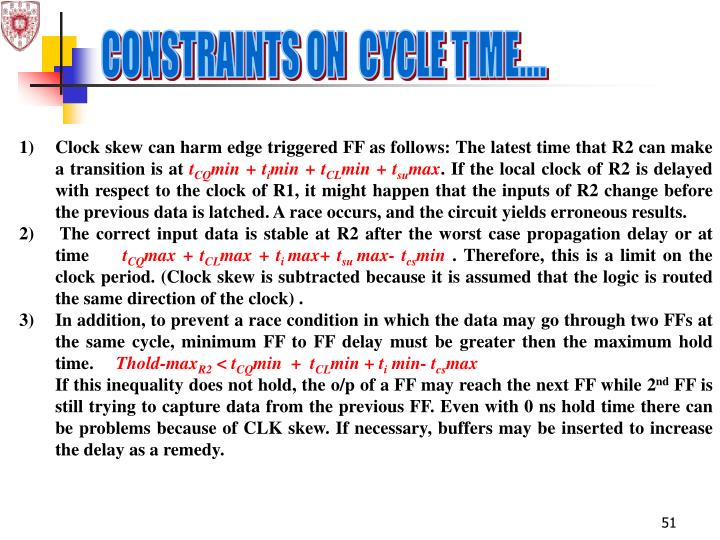 CONSTRAINTS ON  CYCLE TIME....