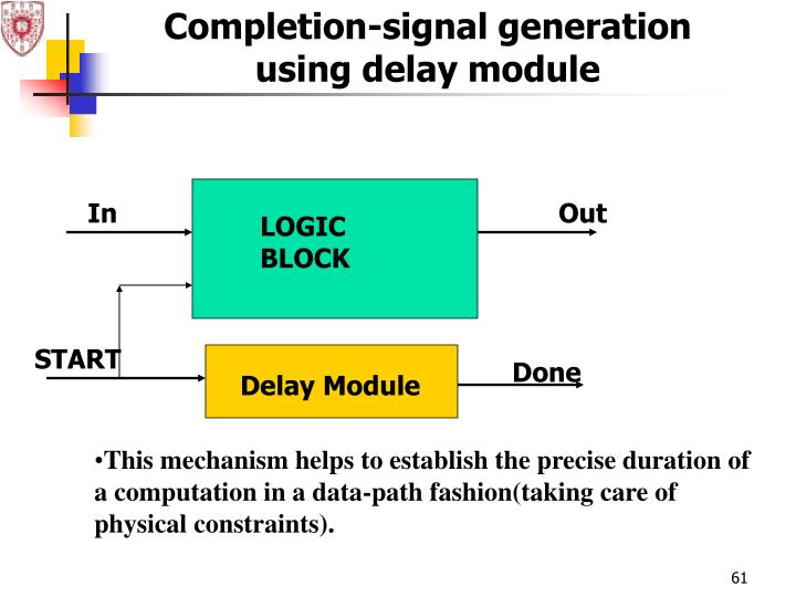 Completion-signal generation using delay module