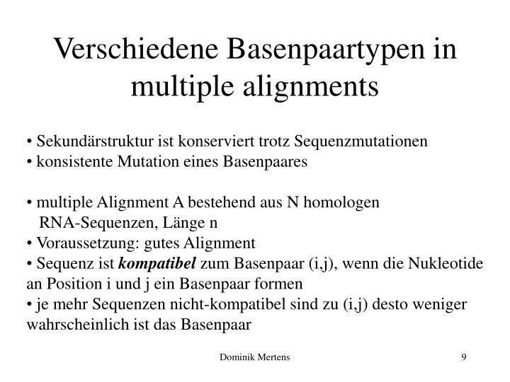 Verschiedene Basenpaartypen in multiple alignments