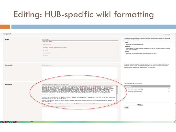 Editing hub specific wiki formatting