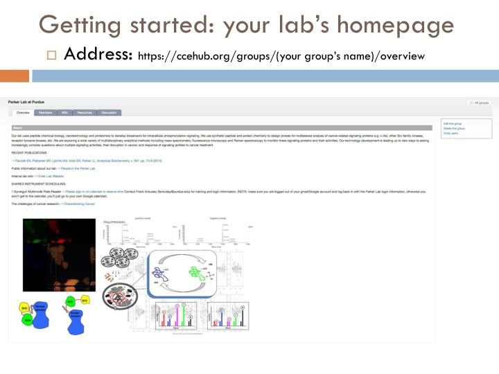 Getting started: your lab's homepage