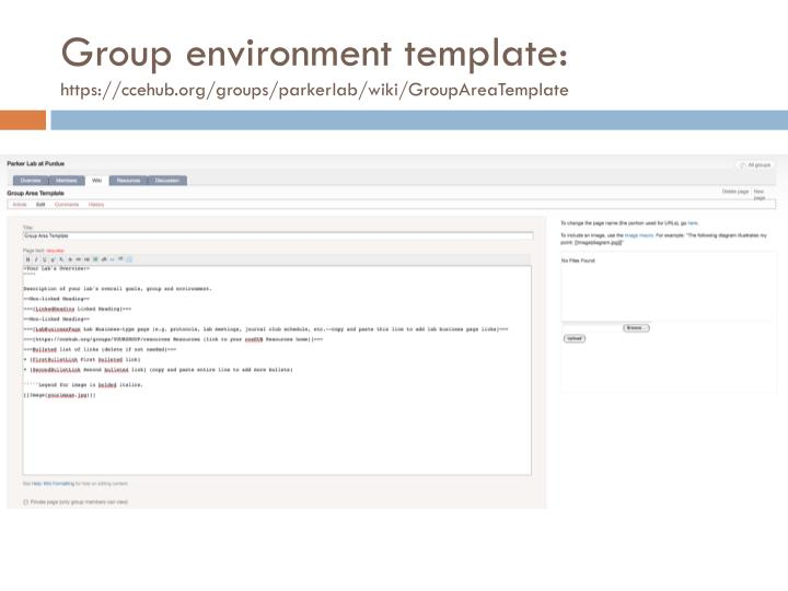 Group environment template:
