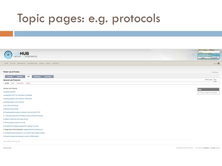 Topic pages: e.g. protocols