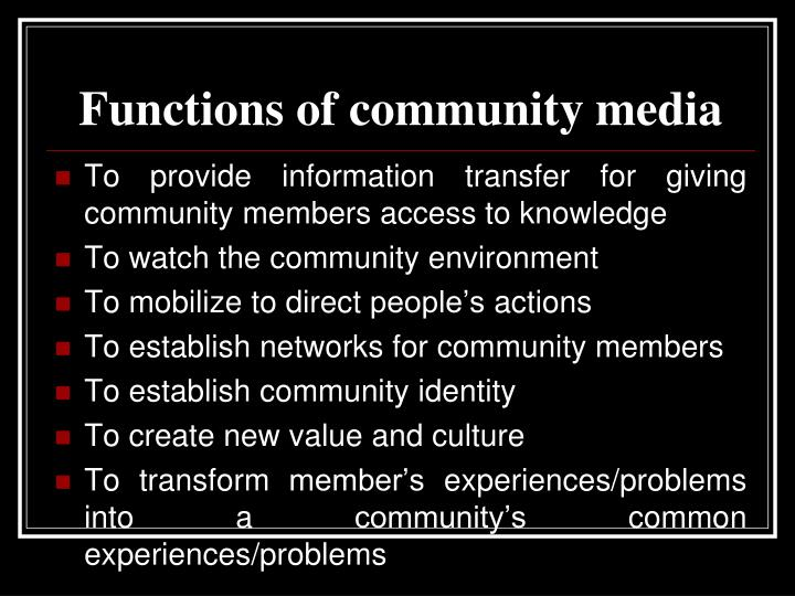 Functions of community media