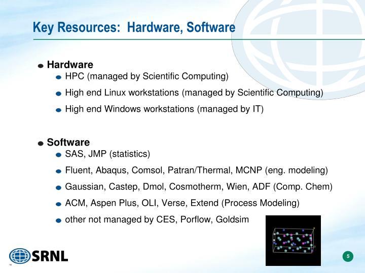 Key Resources:  Hardware, Software