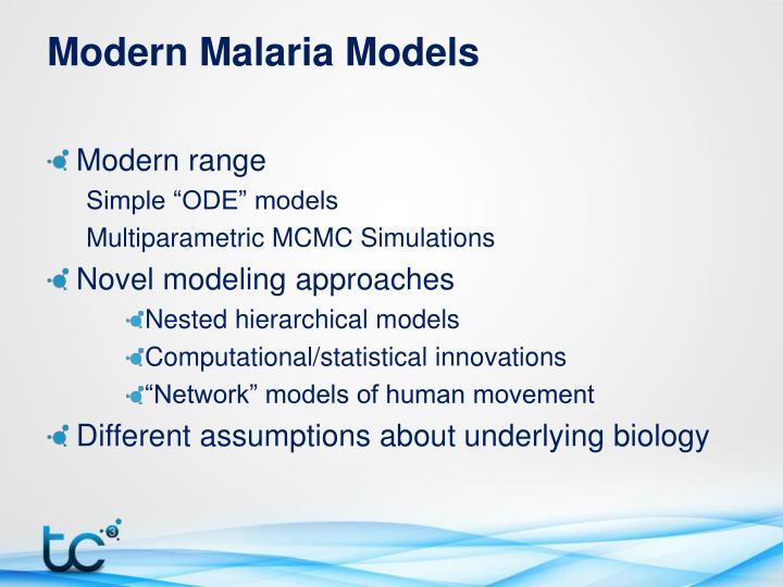 Modern Malaria Models