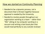 how we started on continuity planning