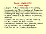 sunday july 22 2012 exercise begins