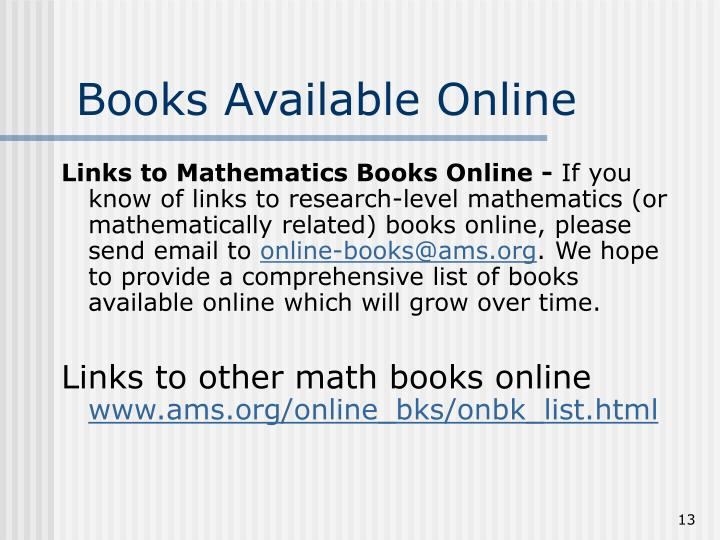 Books Available Online