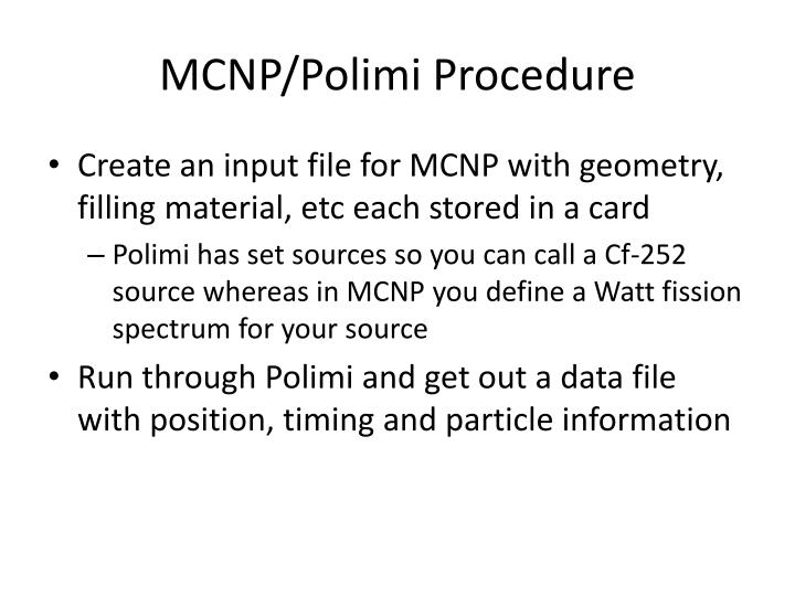 Mcnp polimi procedure