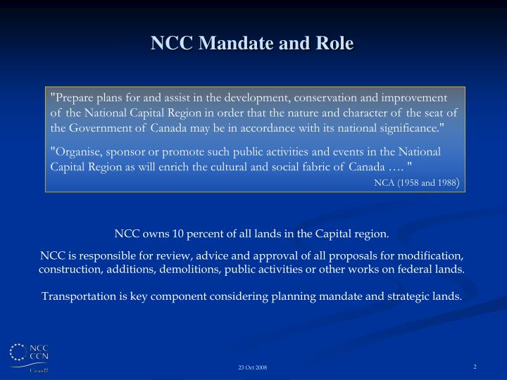 NCC Mandate and Role