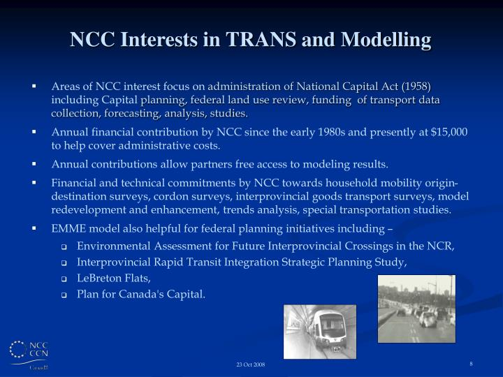 NCC Interests in TRANS and Modelling